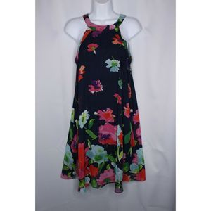 Betsey Johnson Womens Dress Sleeveless Blue Floral